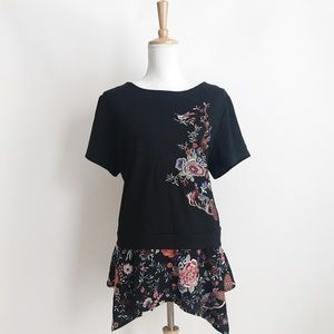 NWT Anthropologie W5 Concepts Floral Ruffled Tee